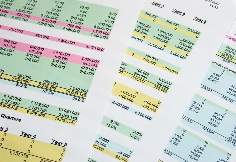 Printed spreadsheets with color highlights
