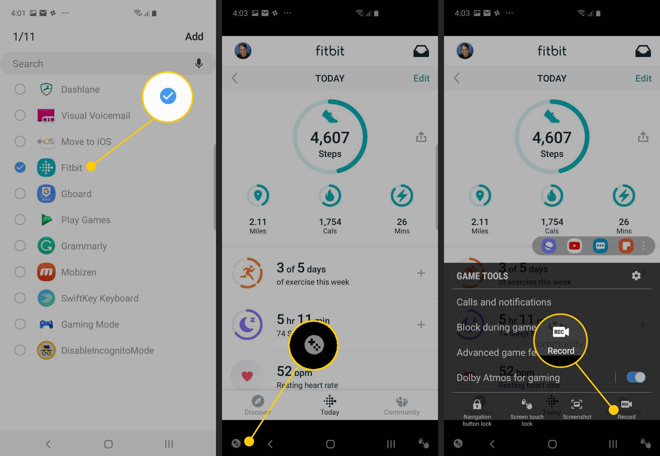 Fitbit checkmark, Game Tools icon, Record icon on Android