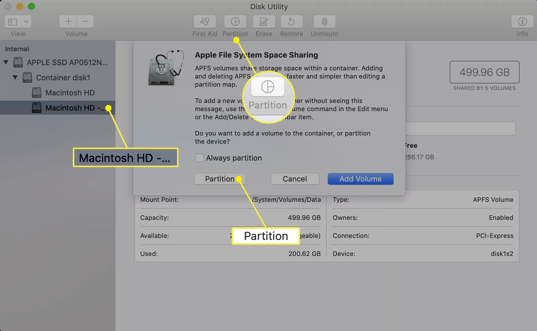 Disk Utility showing the Partition option