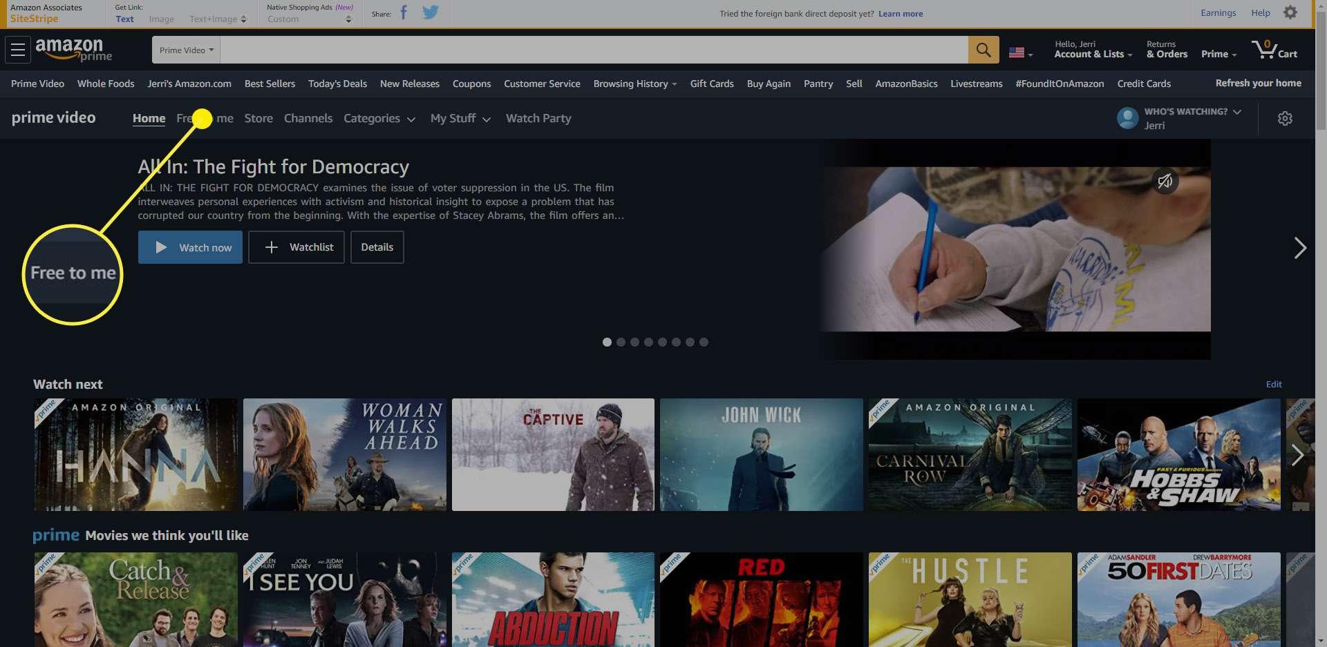 The Free to me option on Amazon Prime Video.