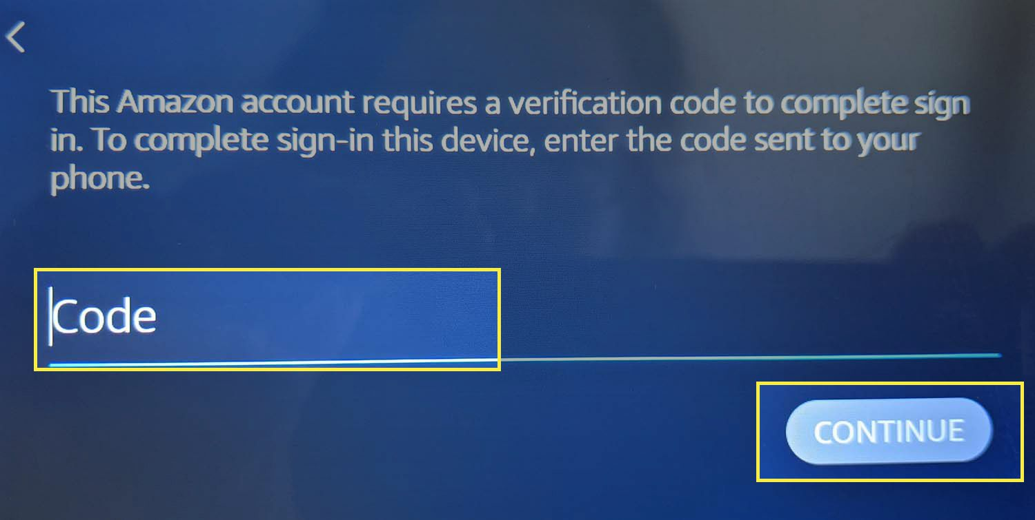 CONTINUE and code field highlighted in the 2FA verification screen on Echo Show.