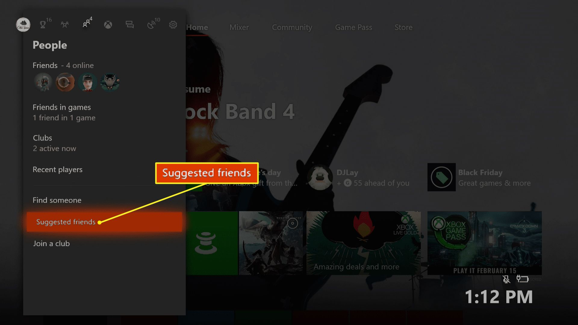 Xbox One People menu with Suggested friends highlighted