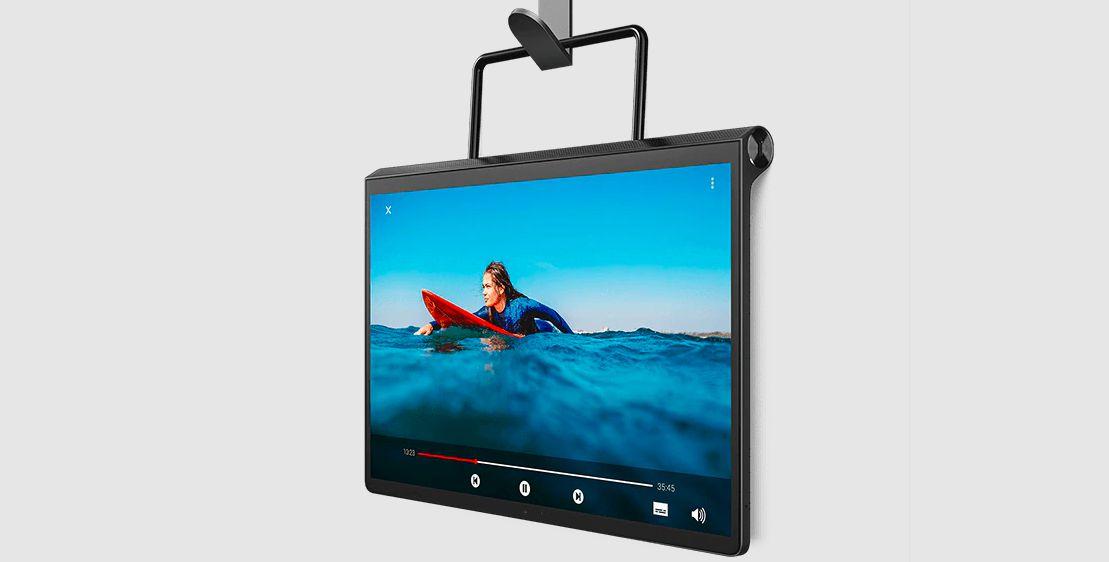 Lenovo Yoga Tab 13 hanging from the wall