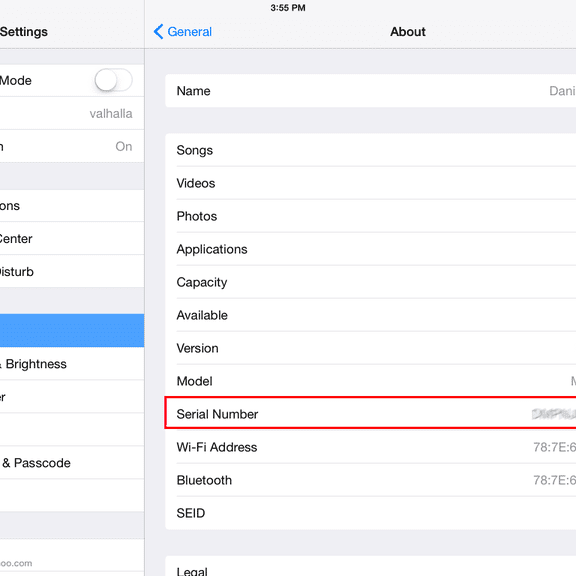 how do i find my ipad mini serial number