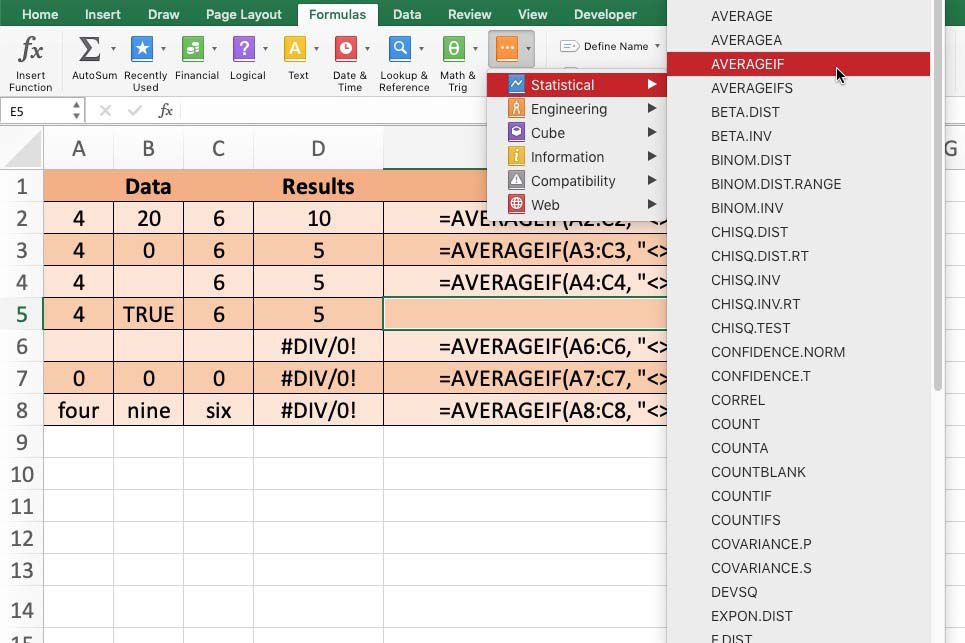 Ignore Zeros with Excel AVERAGEIF when Finding Averages