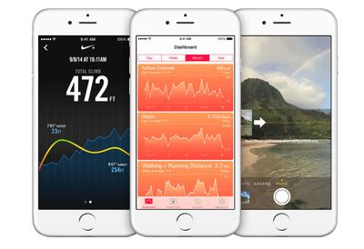 iPhones with health, Nike, and camera apps open