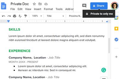 Screenshot of a private Google Doc