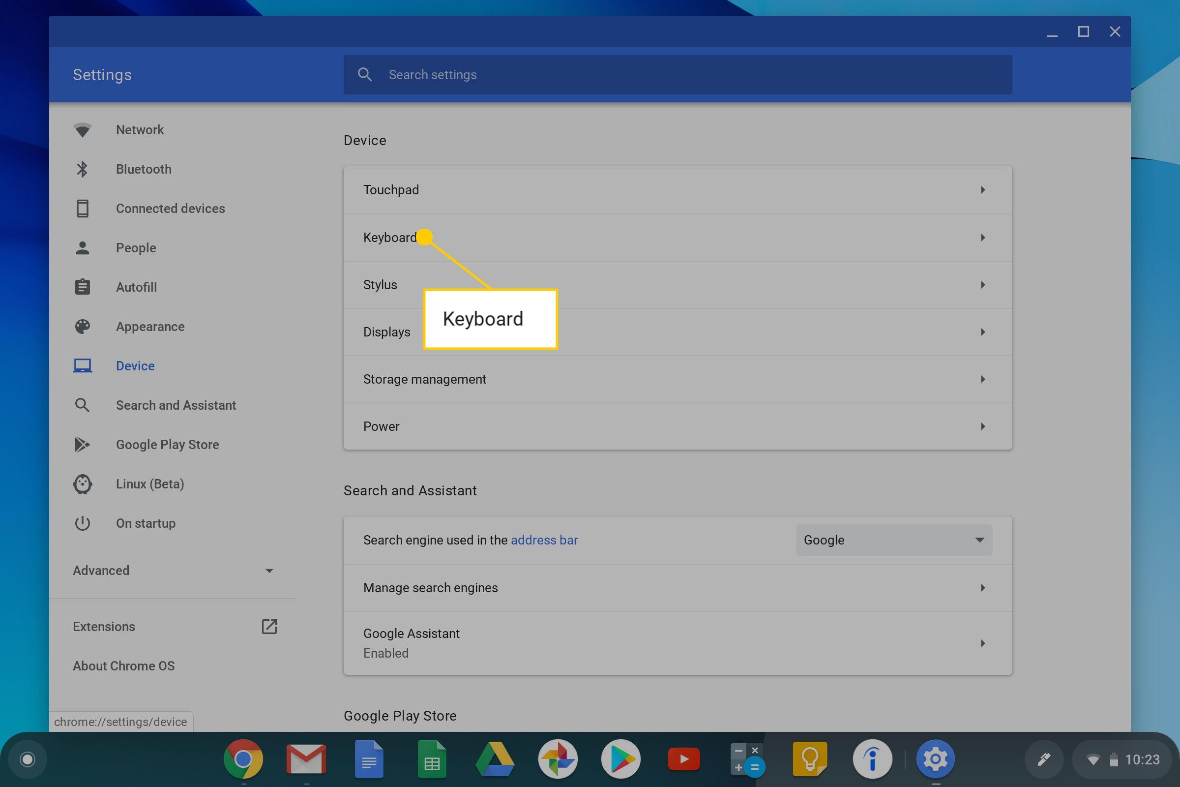 The Chromebook Keyboard Option.