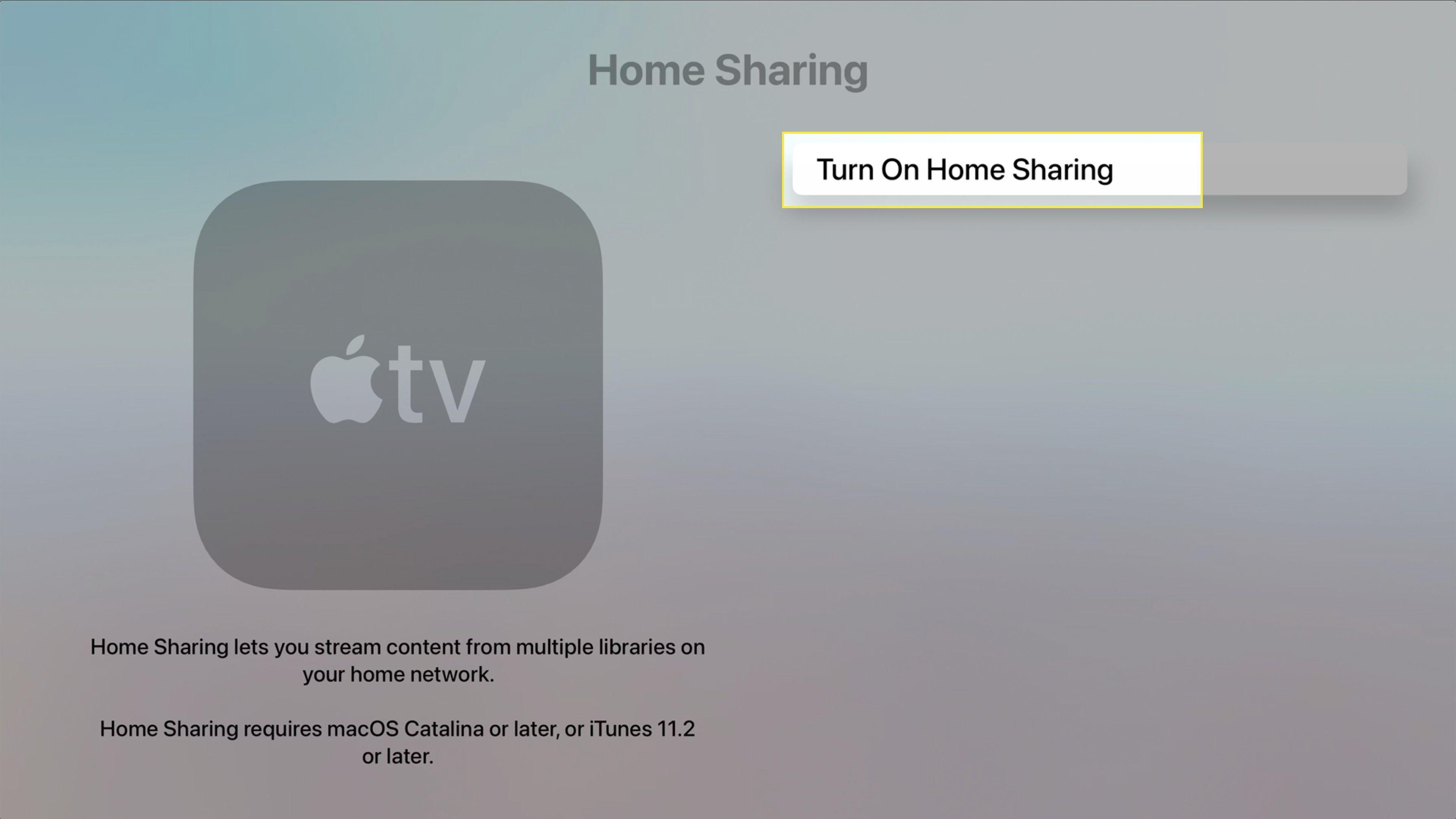 Apple TV Home Sharing screen highlighting