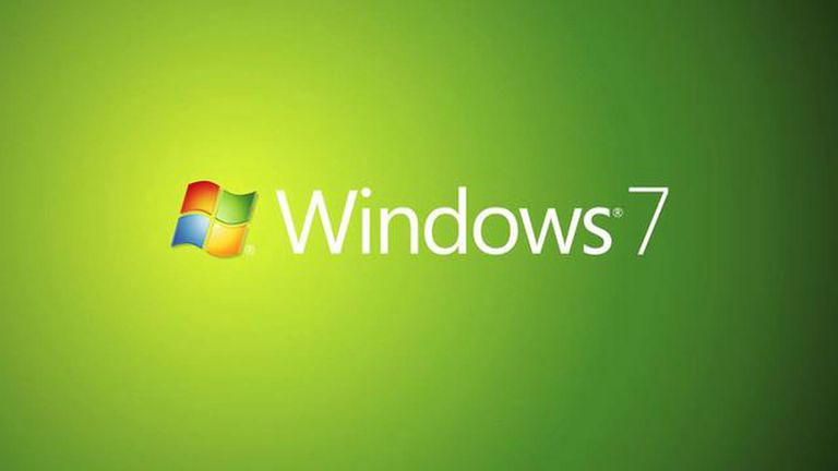 Windows 7 logo on a green background