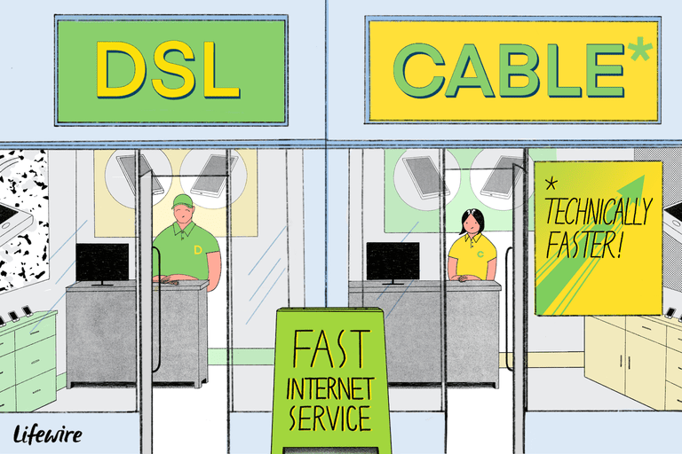 Illustration of a DSL and Cable store next to each other with posters extolling their services