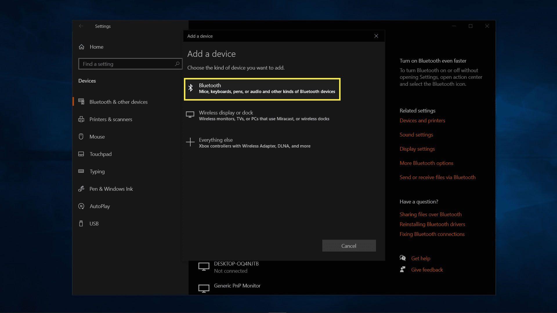 Adding a device on Windows 10.