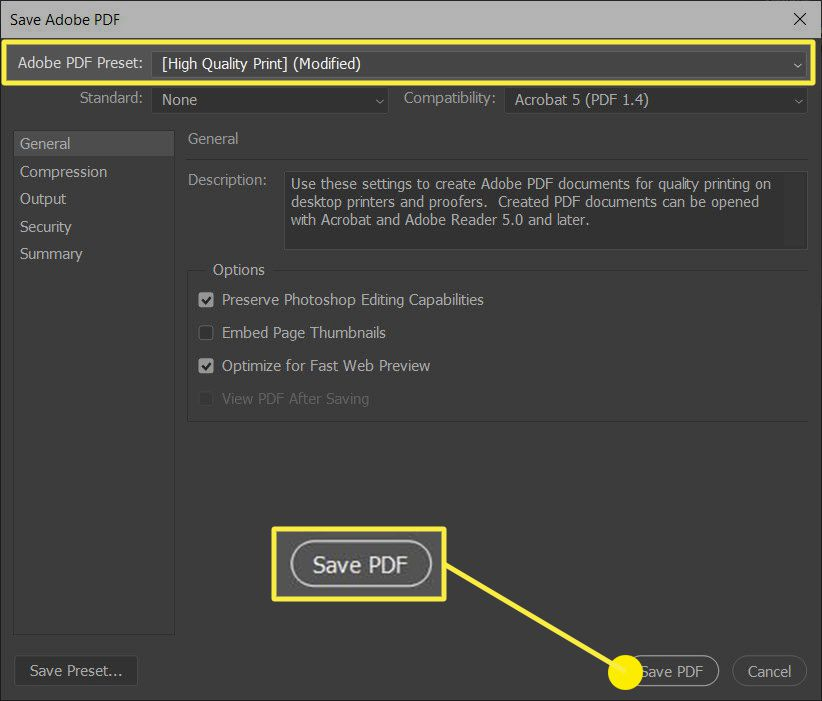 The Adobe PDF Presets and Save as PDF in the Save Adobe PDF dialog box.