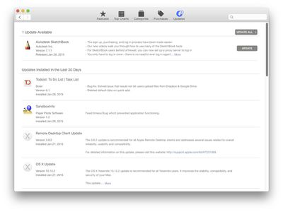 Mac App Store update tab