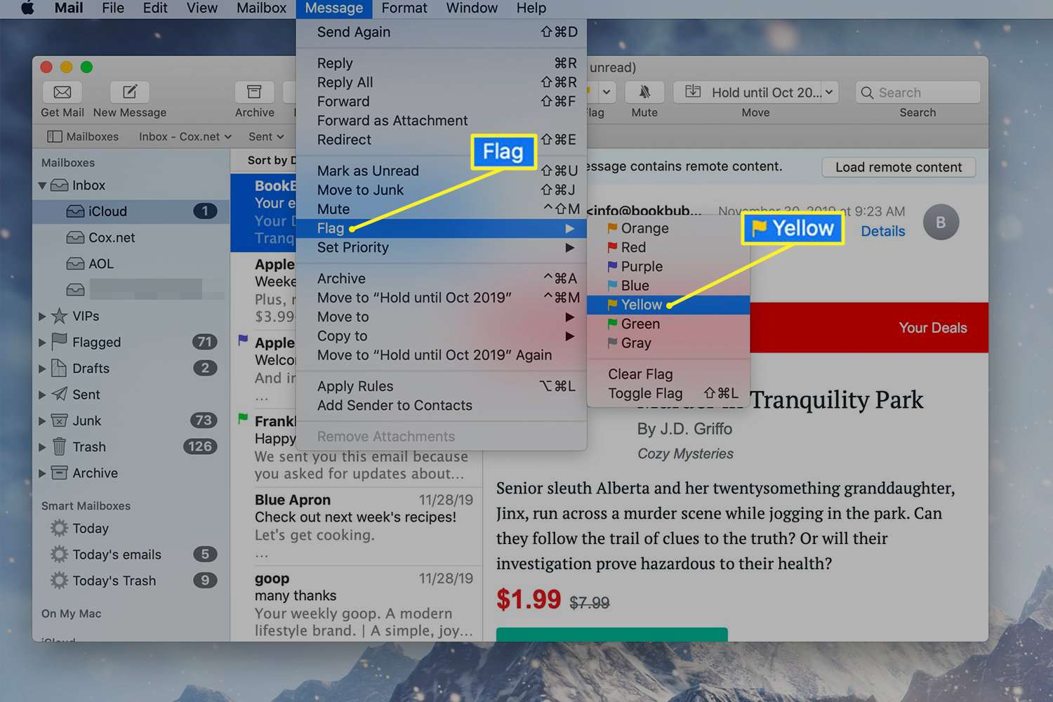 Flagging a Mail message on a Mac