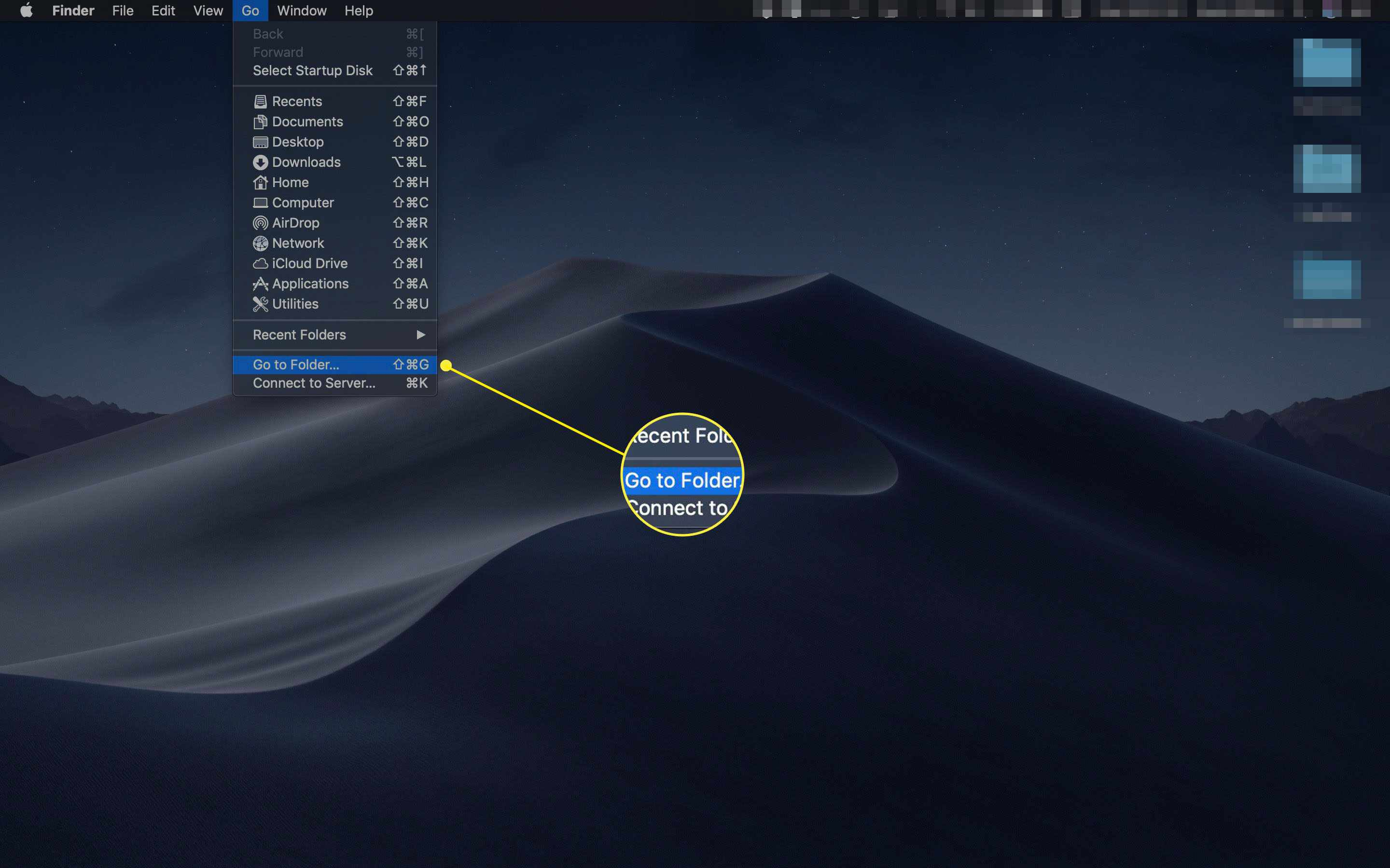 Go to Folder command in Mac Finder