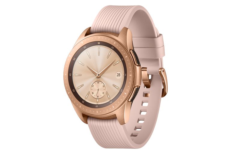 Rose gold Samsung Galaxy Watch in 42mm size.