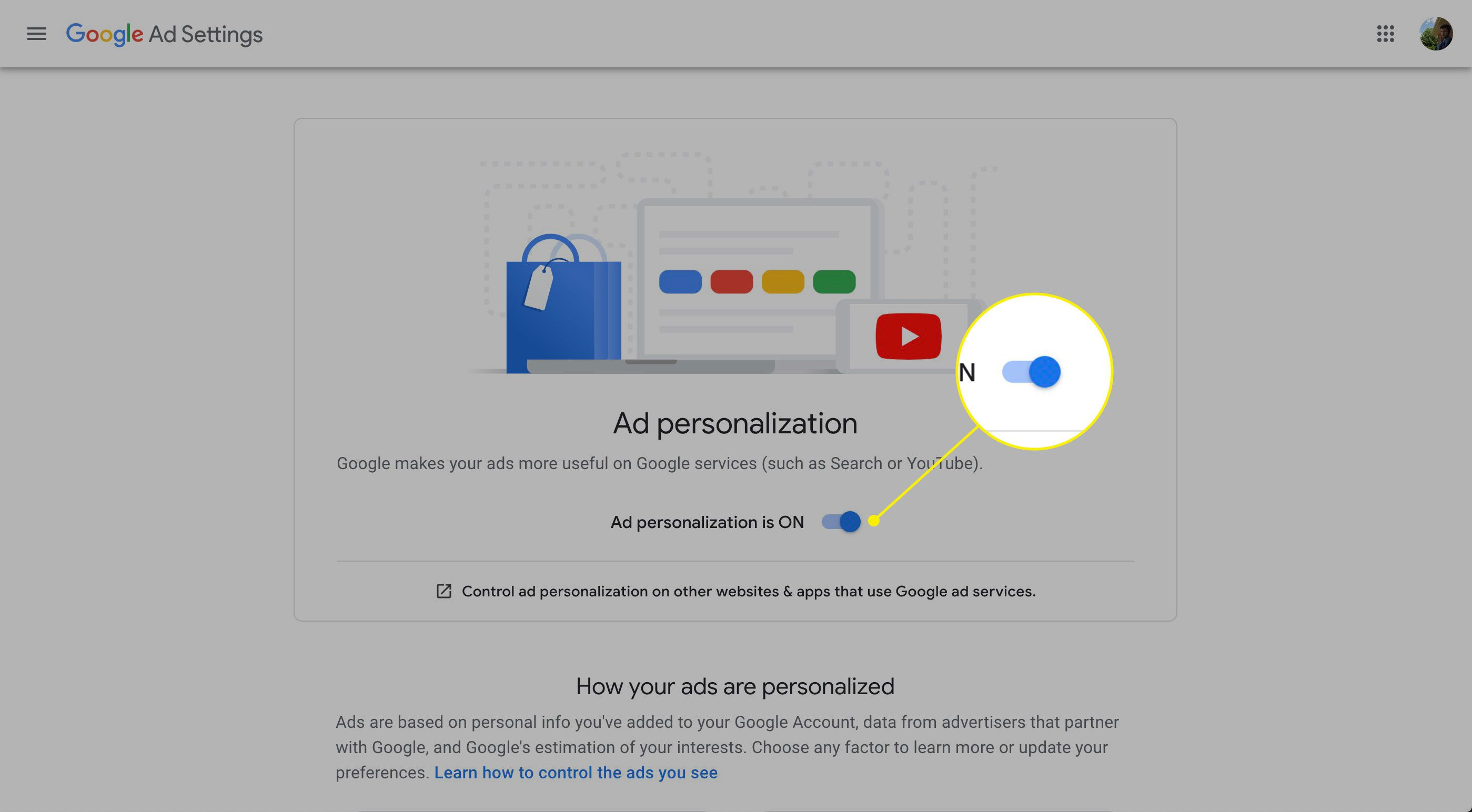 The ad personalization switch in Google Ad Settings
