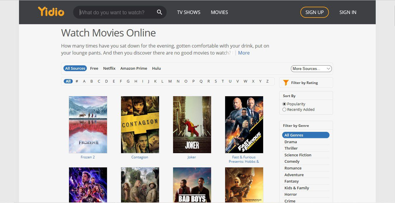 Use Yidio to Search Other Streaming Services
