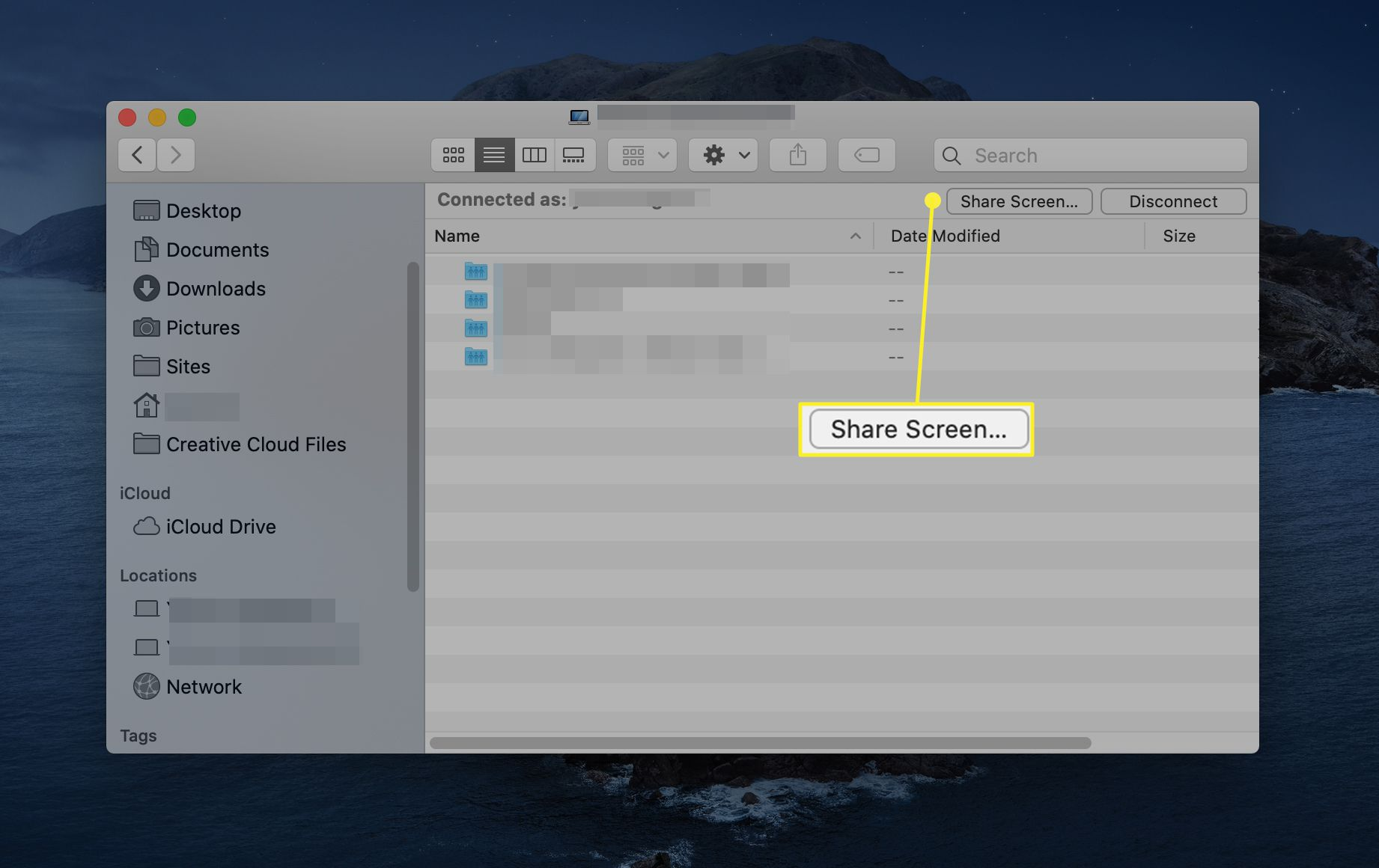 Share Screen button from Finder window between two connected Macs