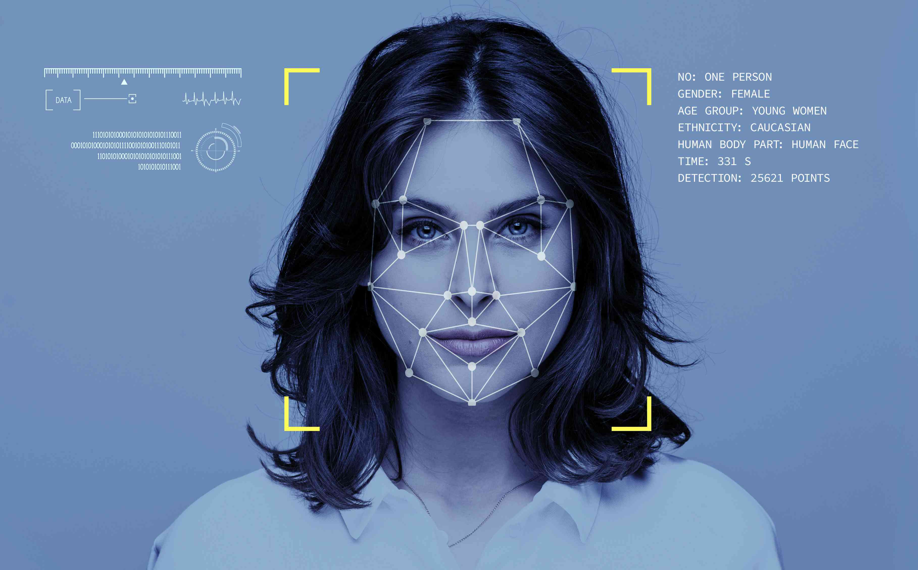 An illustration of facial recognition technology.