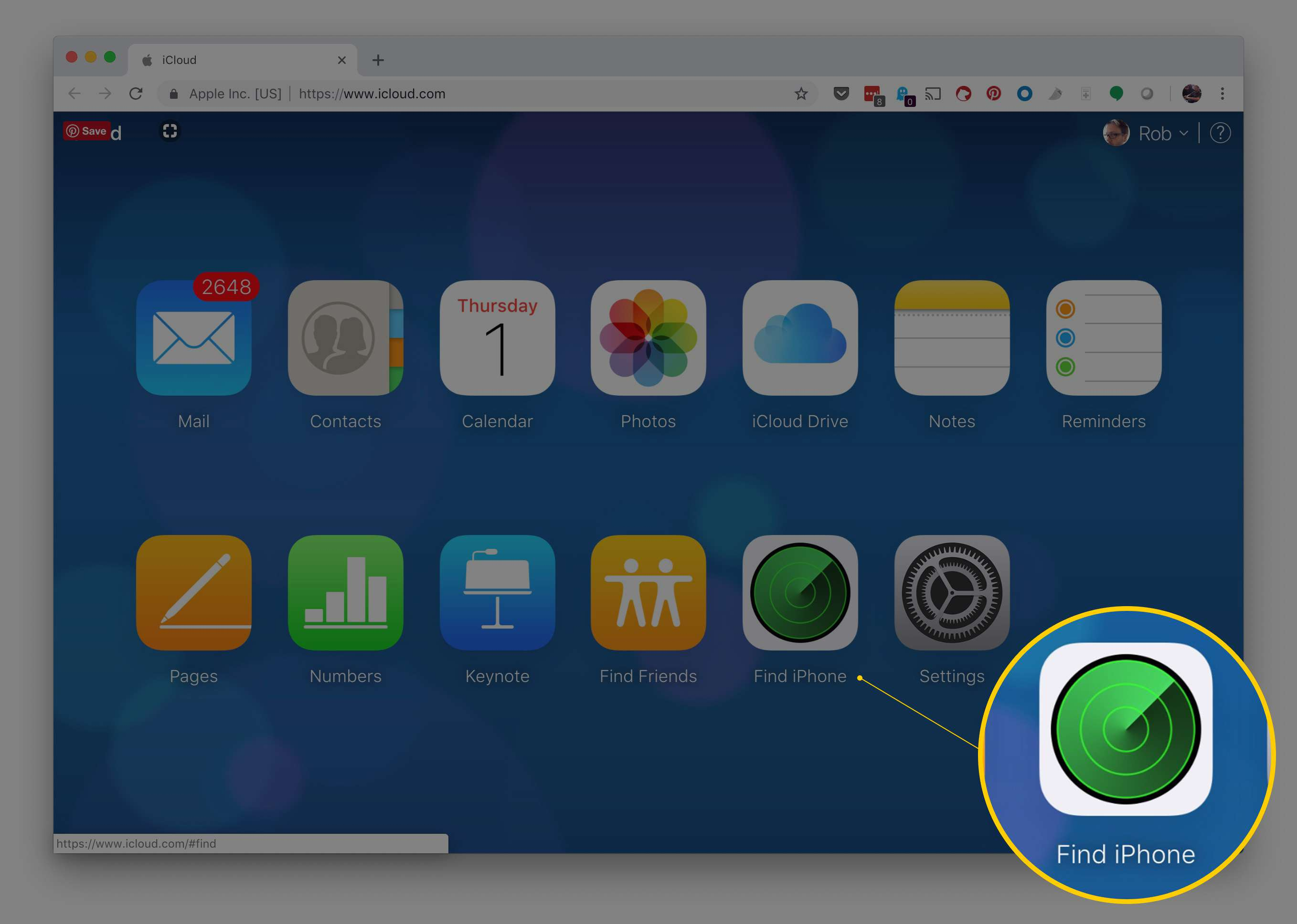 Find iPhone icon on iCloud.com webpage