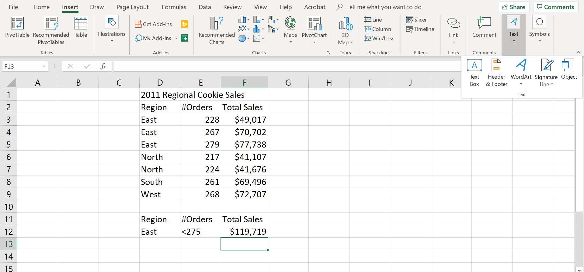 Header & Footer option on Insert tab of Excel's ribbon.