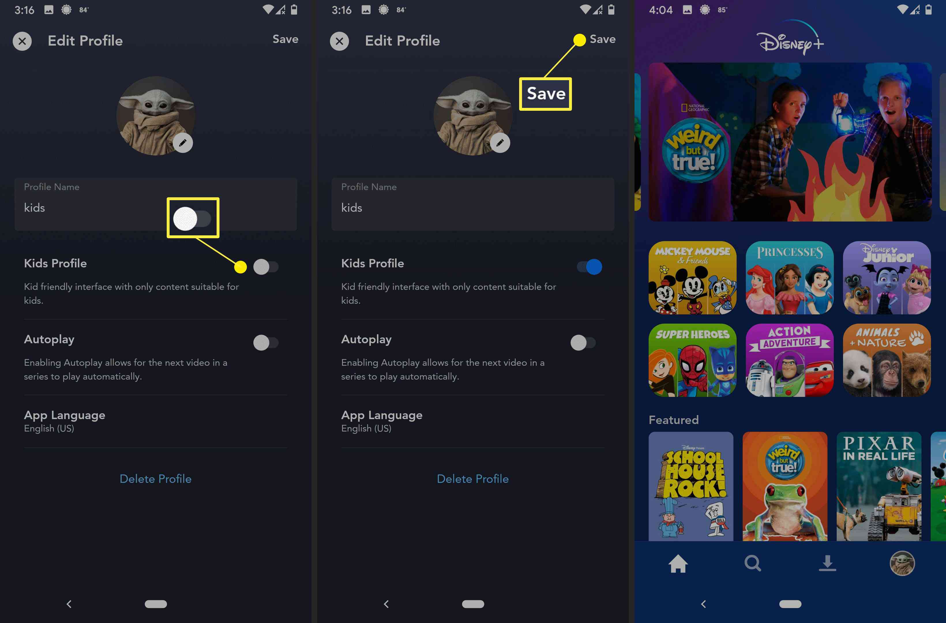 Setting up a child's protected profile on Disney+.