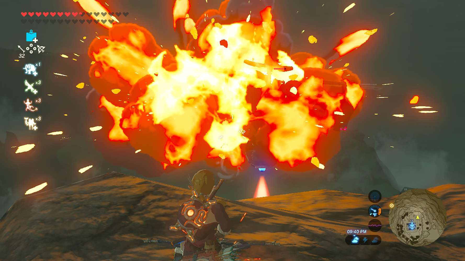 Screenshot from Zelda: Breath of the Wild using a bomb arrow on a Guardian