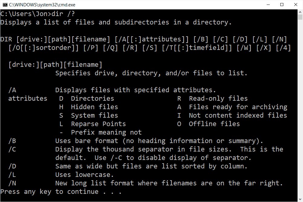 dir help command in a Windows 10 Command Prompt