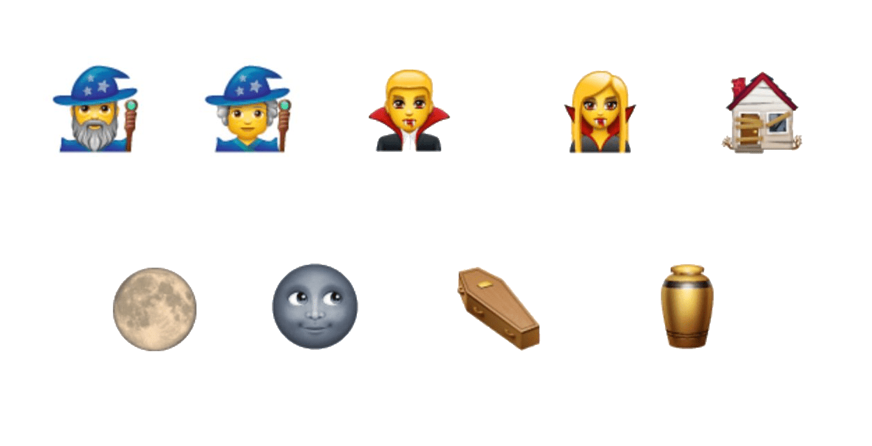 mages, vampires, derelict house, moon, coffin and urn emojis