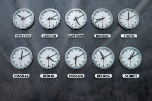 Clock faces showing times in major world cities