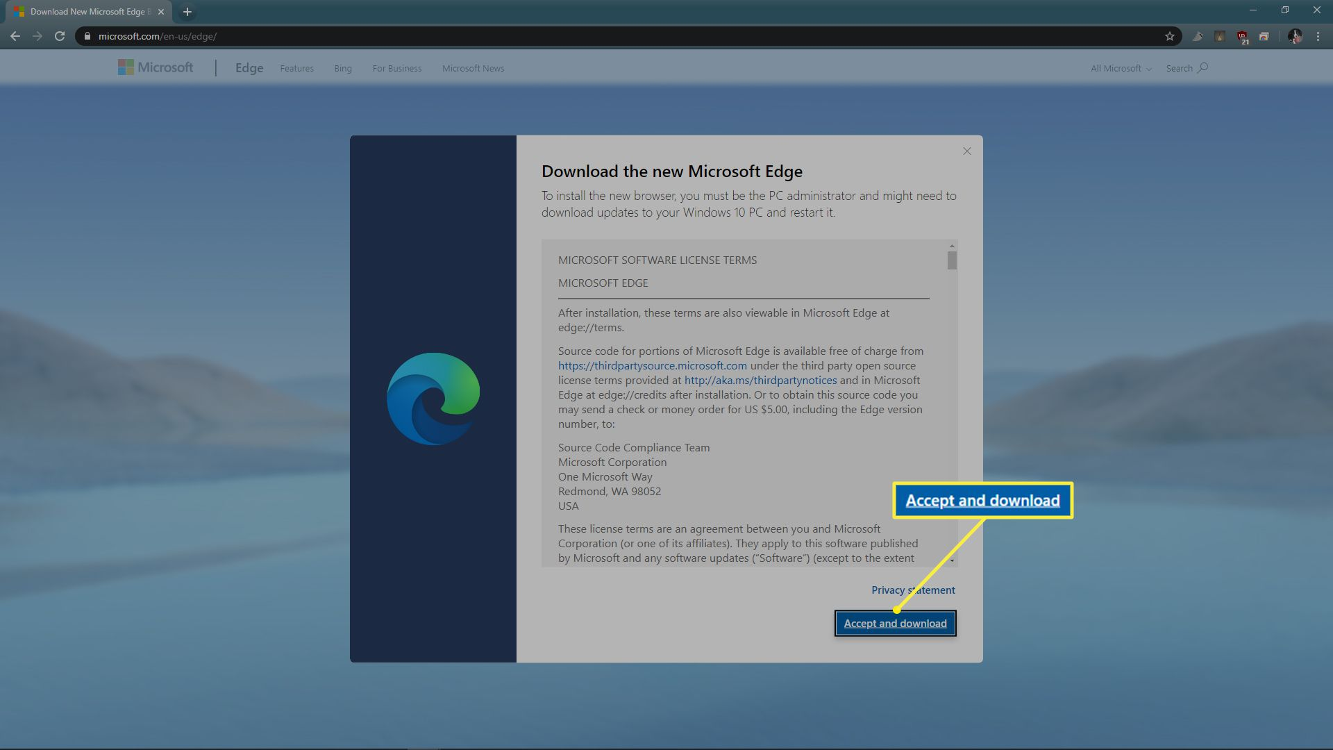 Microsoft Edge software license terms with Accept and download highlighted