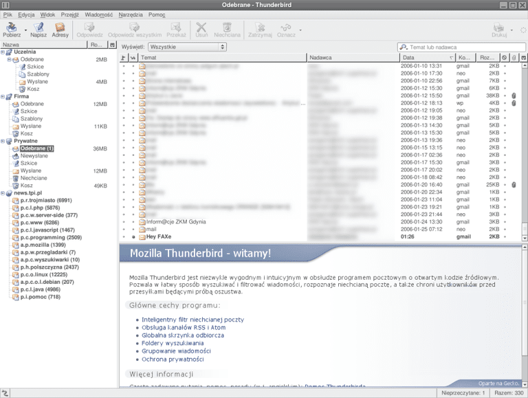 Mozilla Thunderbird running on Linux.