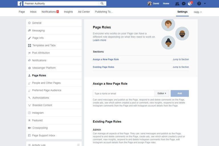 Screenshot of a Facebook admin page