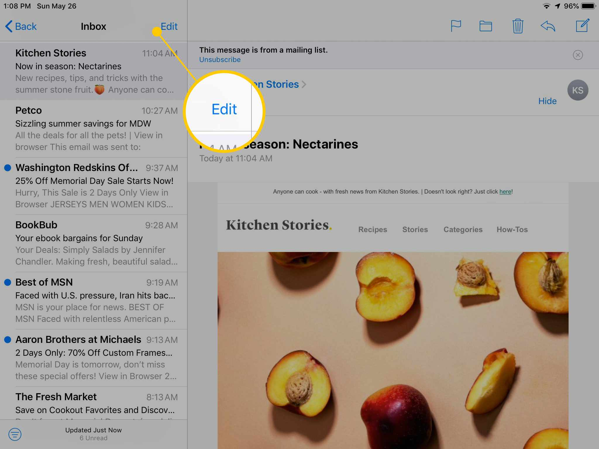Edit button in iOS Mail on iPad