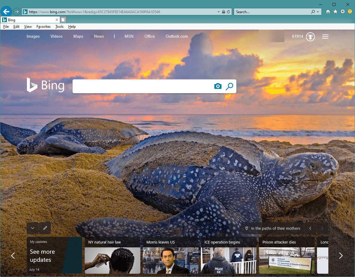 IE11 with tool bar displayed