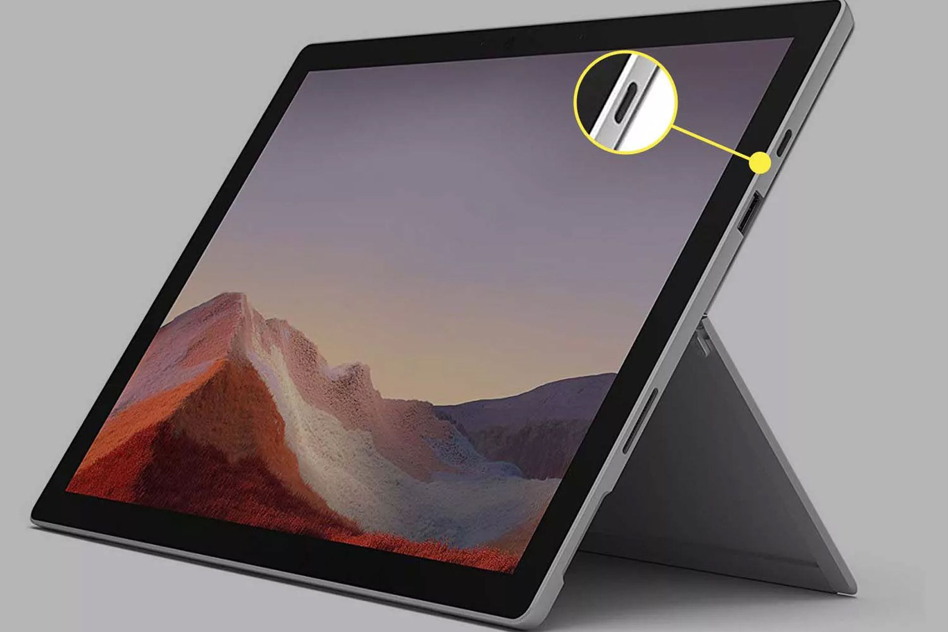 Microsoft Surface Pro 7 USB port for connecting to a monitor.