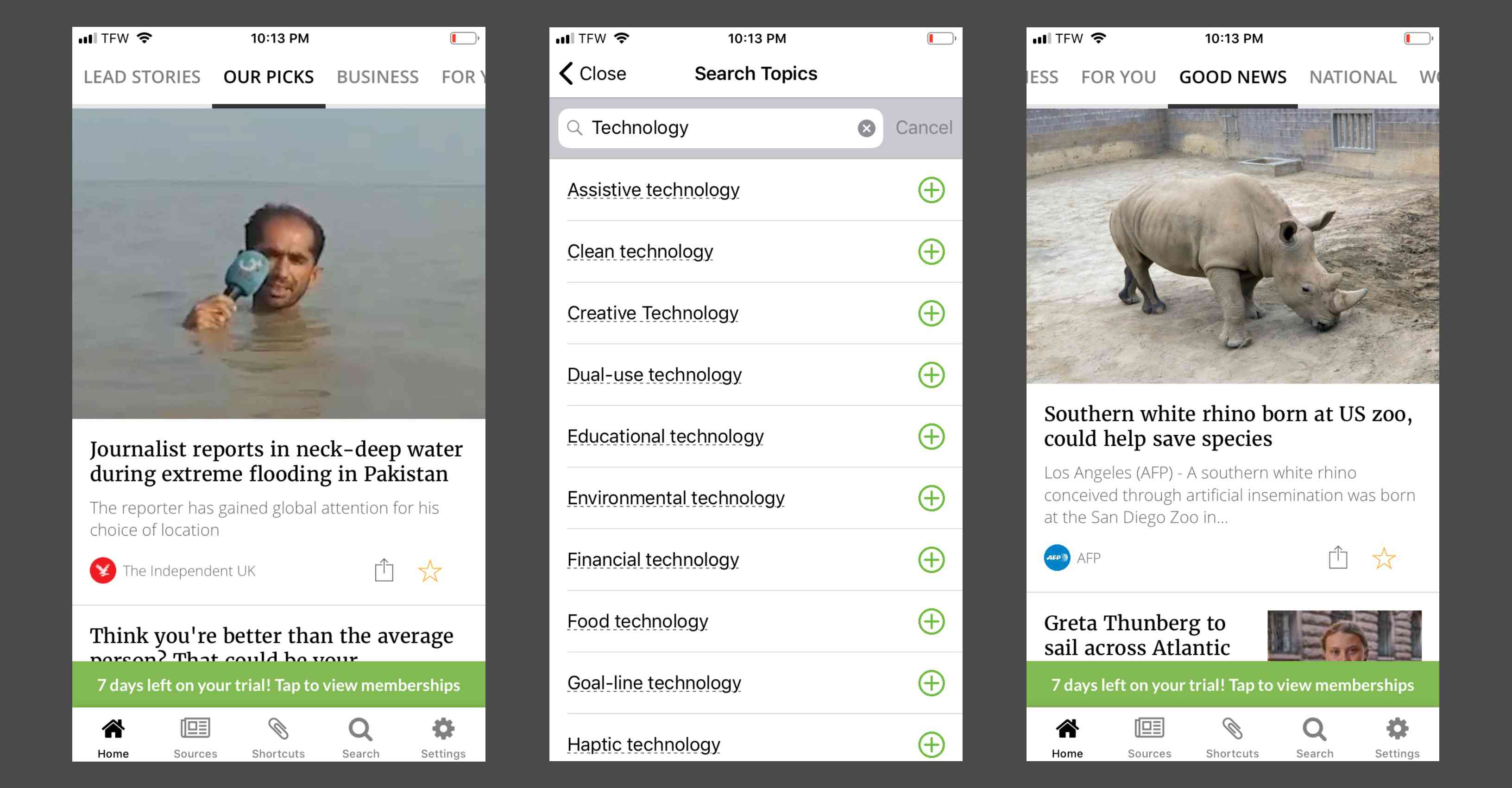 Using the Good News tab and searching for topics inside the Inkl app