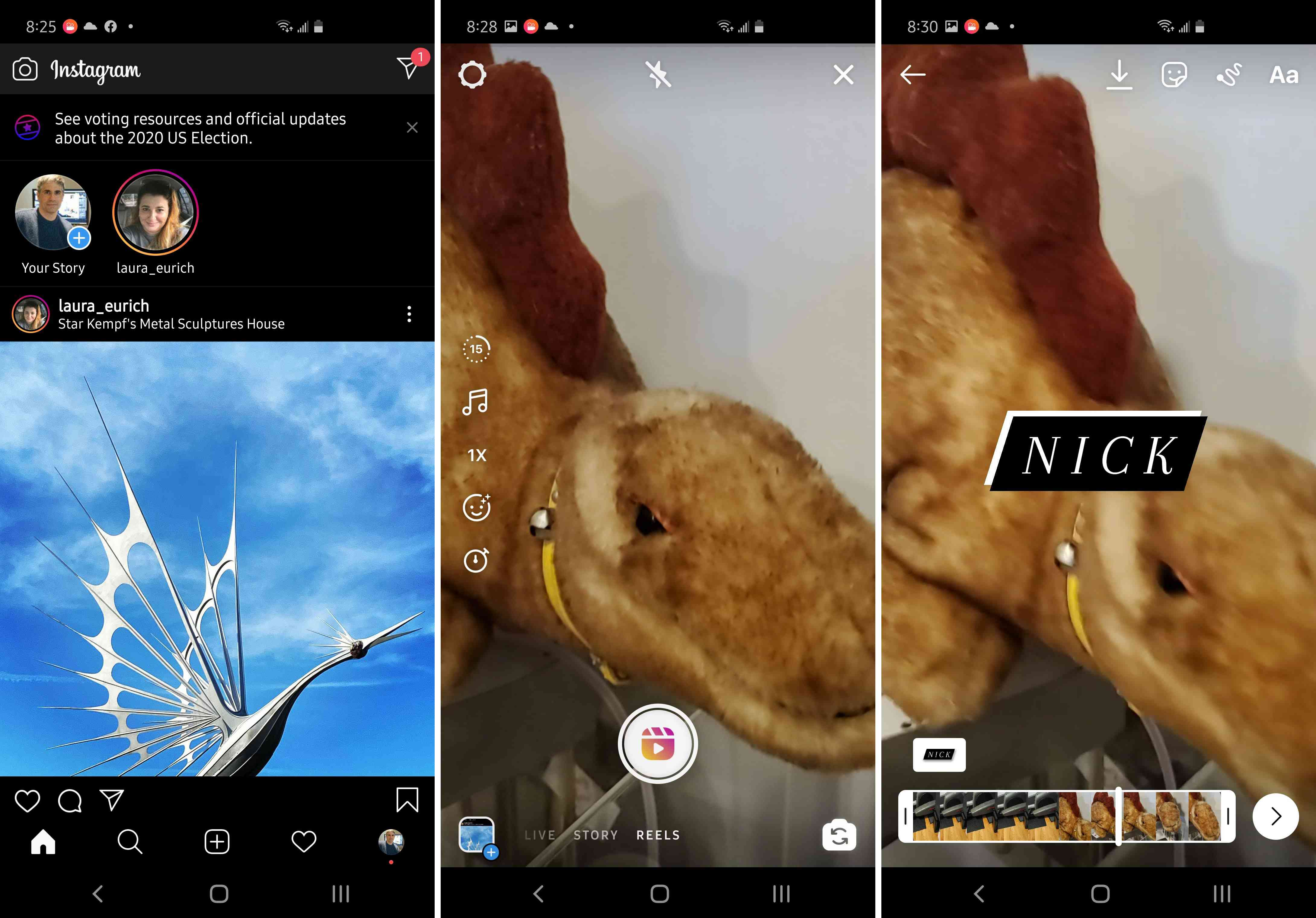Three views of the Instagram app