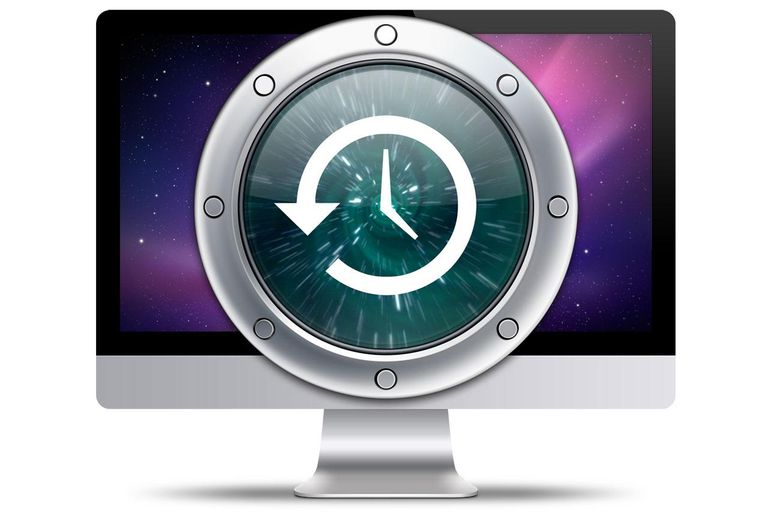 iMac with Time Machine logo
