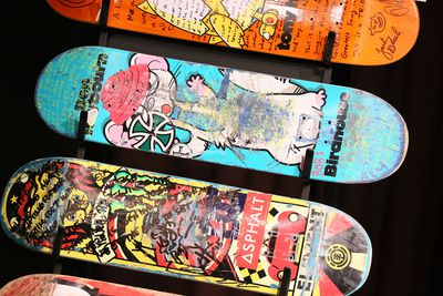 Skateboards in a line
