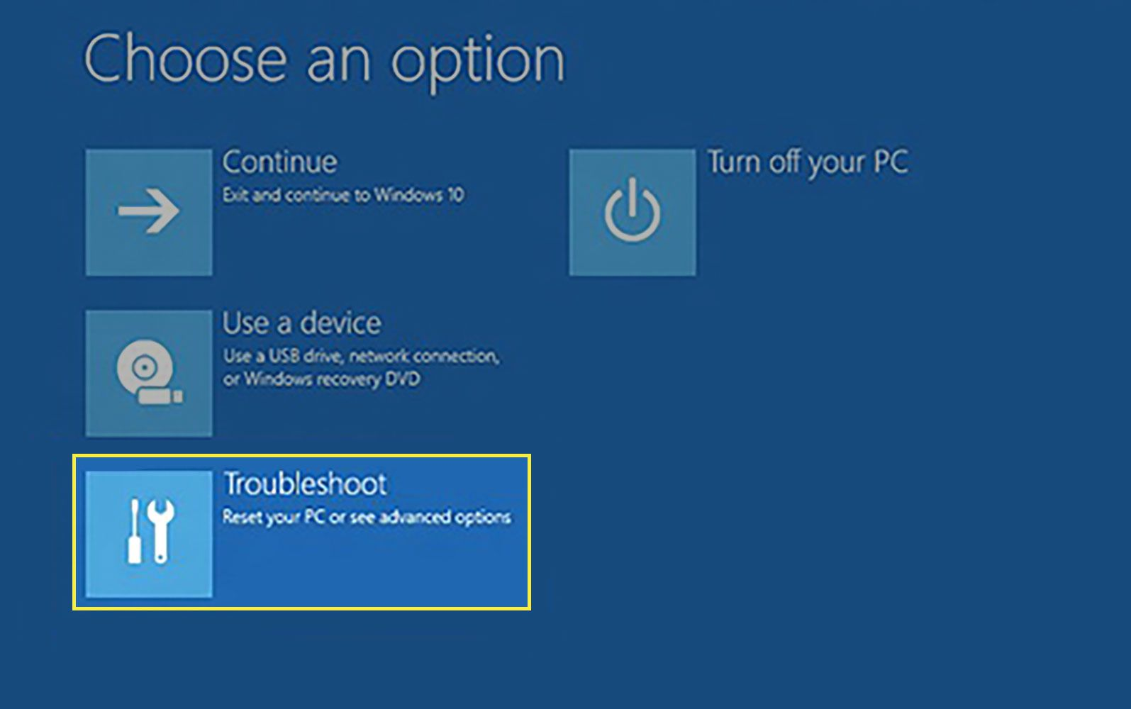 Troubleshoot in Windows 10 Recovery Environment