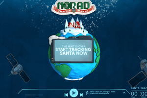Screenshot of the NORAD Tracks Santa Website displaying the end of the Christmas Eve countdown
