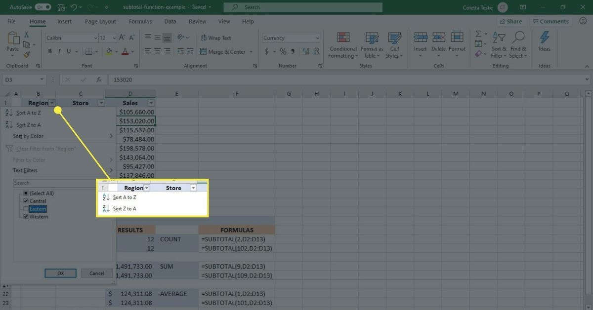 How to filter data in an Excel worksheet