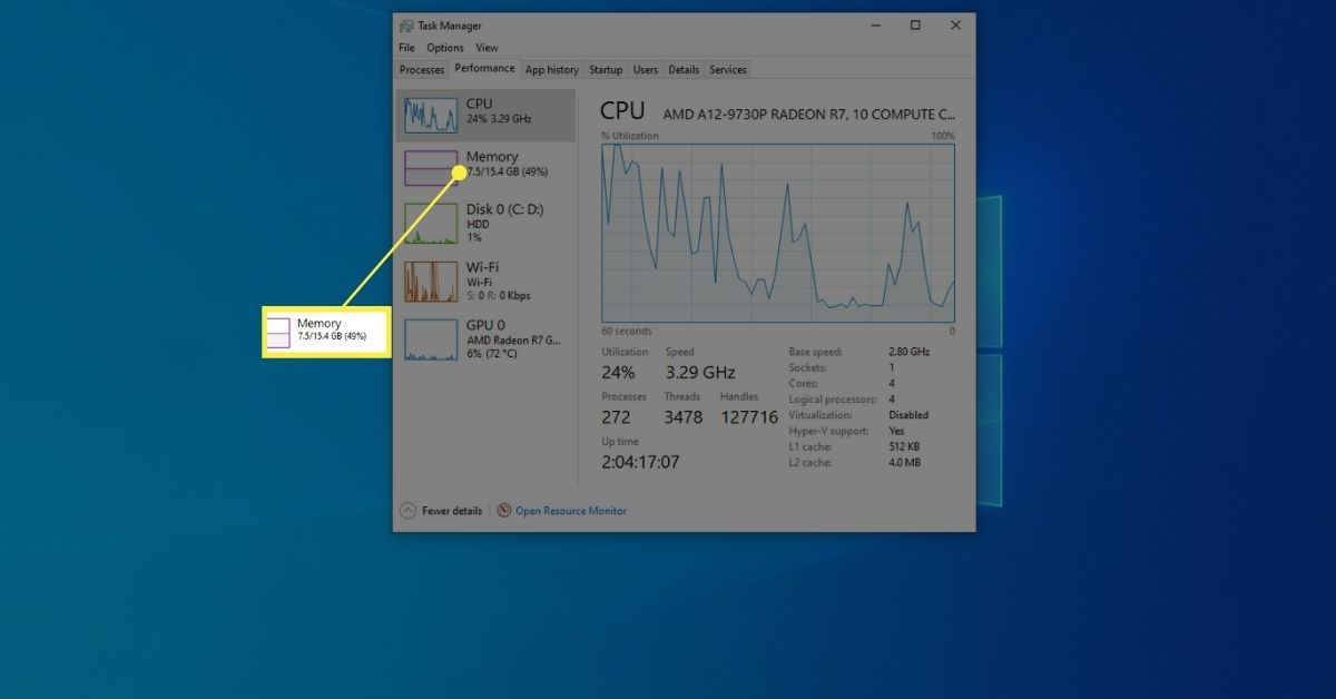 Memory on Performance tab of Task Manager window.