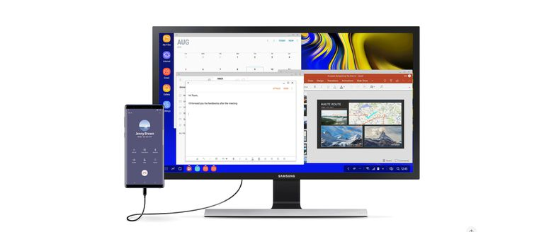 Samsung smartphone connected to external monitor