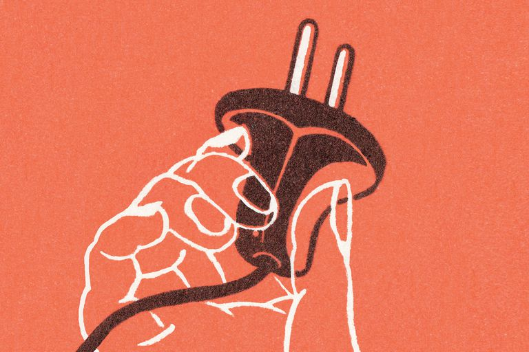 Illustration of a hand holding a three-pronged electrical plug against a red background