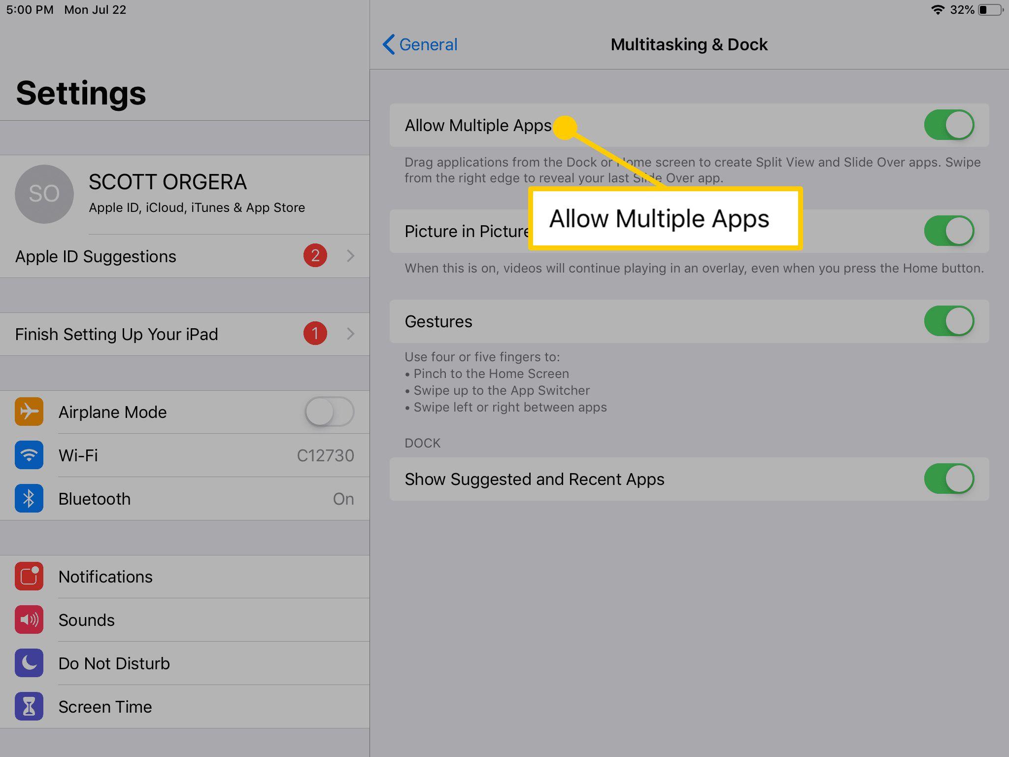 The Allow Multiple Apps in iPad's Multitasking & Dock menu