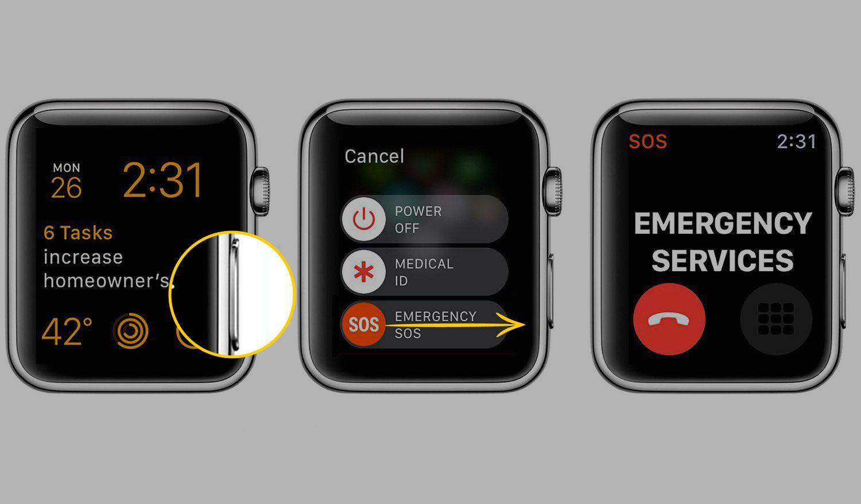 Emergency call on an Apple Watch